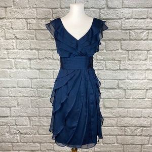 Adrianna Papell Blue Tiered Ruffle Cocktail Dress